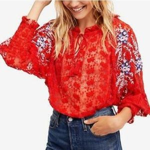 Free People Embroidered Blouse Red Size S. $128